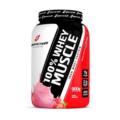 100 Whey Muscle 900gr Body Action Morango