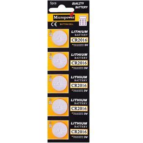 5 Baterias de Lítio 3V CR2016