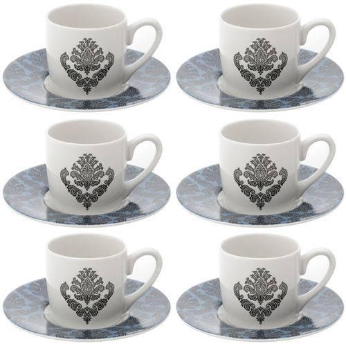 6 Xícaras P/ Café de Porcelana Barroque 90ml Lyor 68326