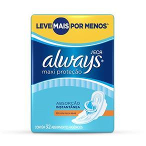 Absorvente Always Maxi Proteção Cobertura Seca com Abas