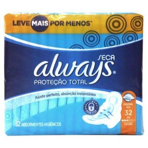 Absorvente Always Proteção Total com Abas Seca Leve Mais por Menos 32 Unidades