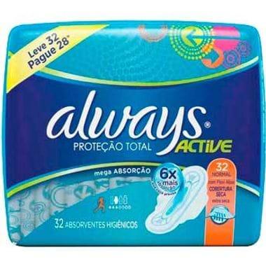 Absorvente Always Proteção Total Dia Seca com Abas
