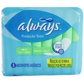 Absorvente Always Proteção Total Seca Sem Abas 8 Unidades