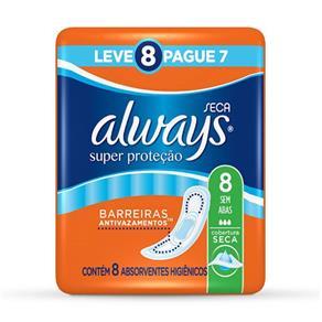 Absorvente Always Super Proteção Cobertura Seca Sem Abas