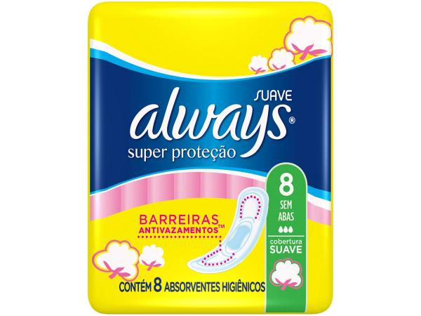 Absorvente Always Super Proteção Cobertura Suave - Sem Abas 8 Unidades