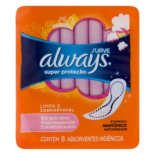 Absorvente Sem Abas Alwans Super Prot 8un-pc Sv ABS S/AB ALWAYS SUPER PROT 8UN-PC SV