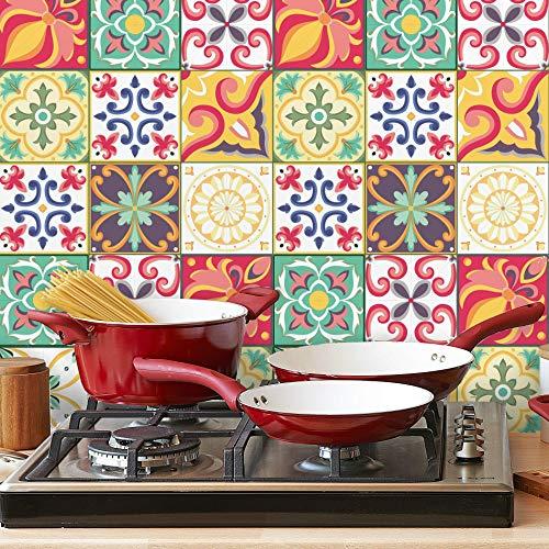 Adesivo de Azulejo Carmesim Colorido 10x10 Cm com 100un