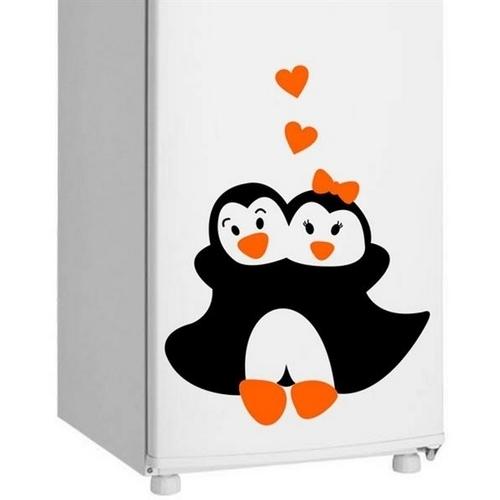 Adesivo de Geladeira Casal de Pinguim