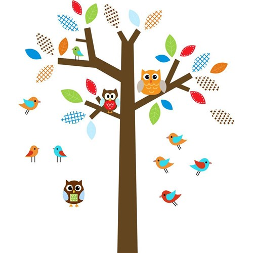 Adesivo de Parede Infantil Árvore Infantil X4 Adesivos Colorido (130x110cm)