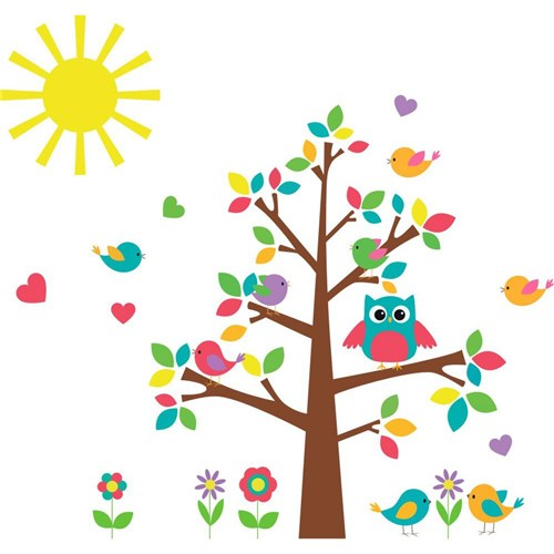 Adesivo de Parede Infantil Árvore X4 Adesivos Colorido (120x115cm)