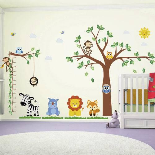 Adesivo de Quarto Infantil Bebe Arvore com Regua de Altura
