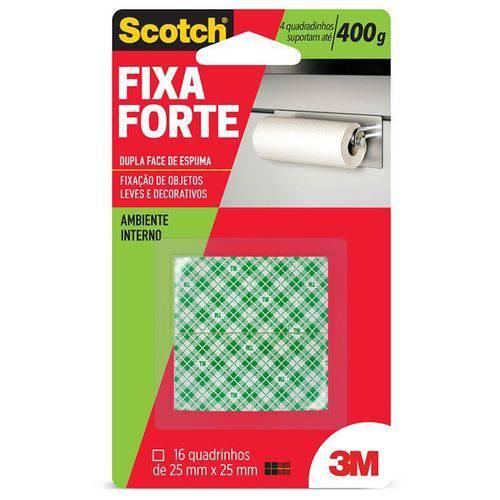 Adesivo Dupla Face Fixa Forte 400g 25mm X 25mm 3m Scotch 15097