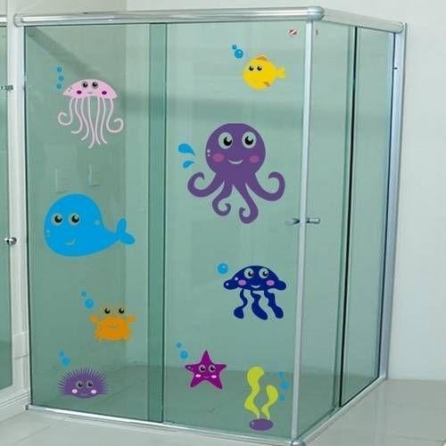 Adesivo para Box de Banheiro Fundo do Mar 5