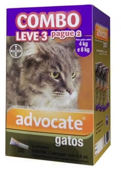 Advocate Gatos 0,8ml 4 a 8kg Combo Leve 3 Pague 2 - Bayer