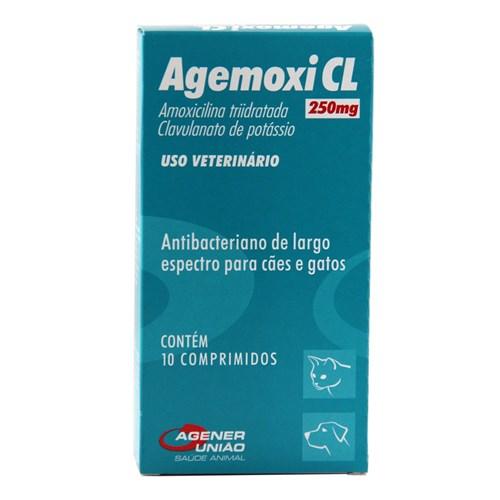 Agemoxi CL 250mg 10 Comprimidos Agener Antibiótico Cães