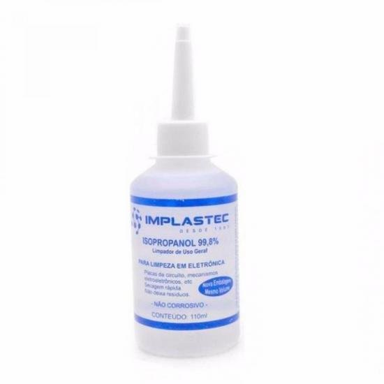 Álcool Isopropilíco 110ml Isopropanol Transparente Implastec