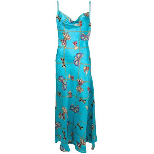 Alessandra Rich Vestido com Estampa - Azul