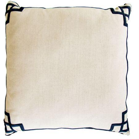 Almofada de Lindo Bordada Quadrados Marinho