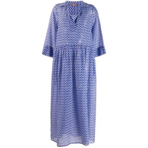 Altea Vestido com Estampa Geométrica - Azul