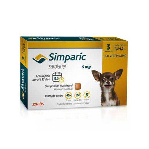 Tudo sobre 'Anti Pulgas Simparic 5 Mg para Cães 1,3 a 2,5 Kg 3 Pipetas'