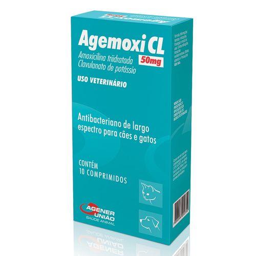 Antibiótico Agener Agemoxi CL para Cães e Gatos - 10 Comprimidos 50mg