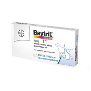 Antibiótico Bayer Baytril Flavour 50 Mg - 10 Comprimidos