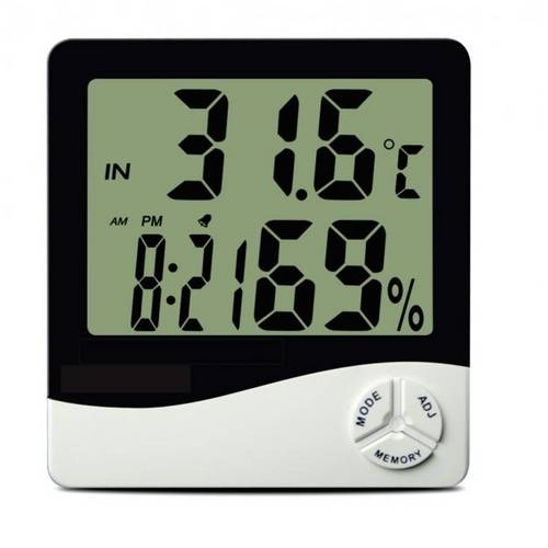 Termo Higrometro Digital com Maxima e Minima Medidor de Temperatura e Umidade com Relogio e Alarme I