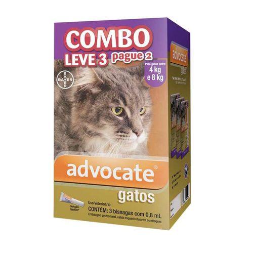 Antipulgas Bayer Combo Advocate (Leve 3 Pague 2) para Gatos de 4 a 8kg 0,8ml