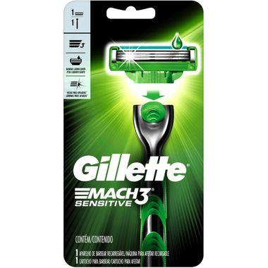 Aparelho Barbear Gillette Mach3 Sensitive 1 Un.