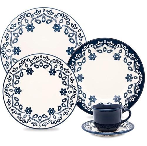 Aparelho de Jantar 20 Peças Floreal Energy - Oxford - Branco / Azul