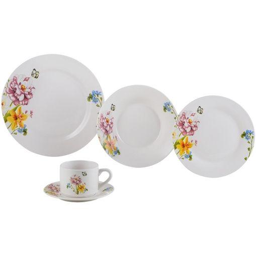 Aparelho de Jantar 20 Peças para Chá em Porcelana Rosa Summer 2139 Lyor