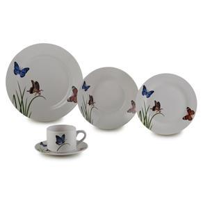 Aparelho de Jantar 20 Peças Porcelana Butterflies Lyor