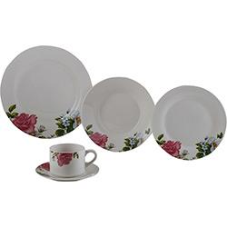 Aparelho de Jantar 20 Peças Porcelana Roses Branco - Lyor