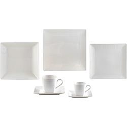 Aparelho de Jantar 42 Peças Porcelana Square Branco - Lyor