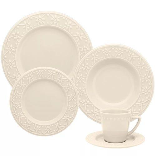 Aparelho de Jantar Cerâmica Mendi Marfim Oxford 30 Peças