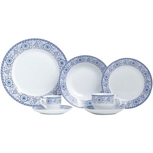 Aparelho de Jantar com 42 Peças em Porcelana Azul Sintra 8193 Lyor