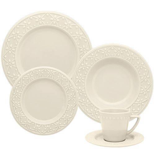 Aparelho de Jantar em Cerâmica 20 Peças Mendi Marfim Oxford