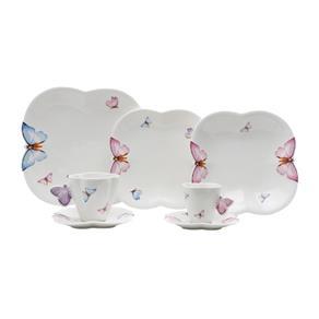 Aparelho de Jantar em Porcelana 42 Peças Borboletas Wolff - Branco