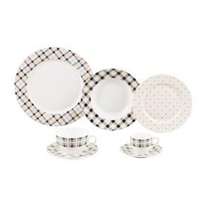 Aparelho de Jantar em Porcelana 42 Peças Chess Wolff - BRANCO