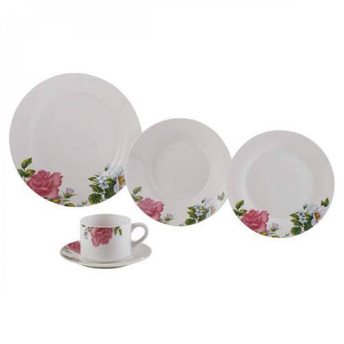 Aparelho de Jantar Porcelana 20 Peças Roses Redondo Lyor Branco