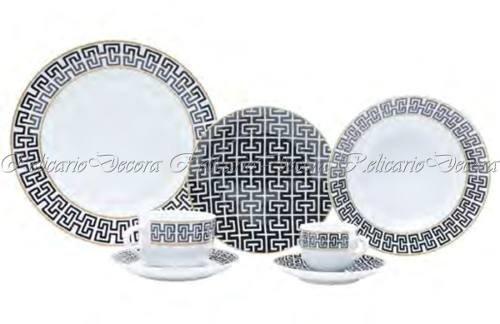 Tudo sobre 'Aparelho de Jantar Porcelana Nobre Preto e Branco Design'