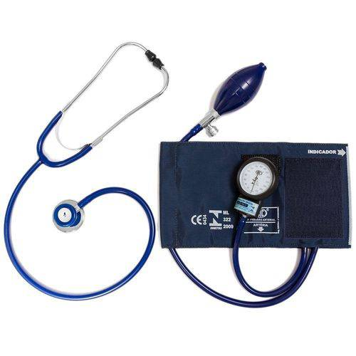 Tudo sobre 'Aparelho de Pressão Ad. Nylon Velcro + Esteto Azul Bic'