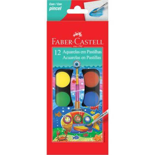 Aquarela Faber Castell Pastilha 12 Cores