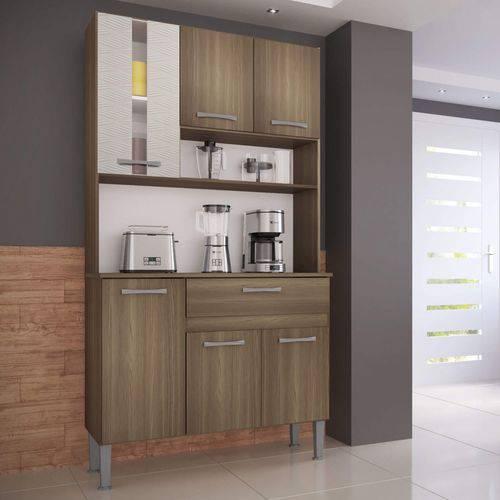 Tudo sobre 'Armário de Cozinha 6 Portas 1 Gaveta Melissa Genialflex Castanho/Mel 3D'
