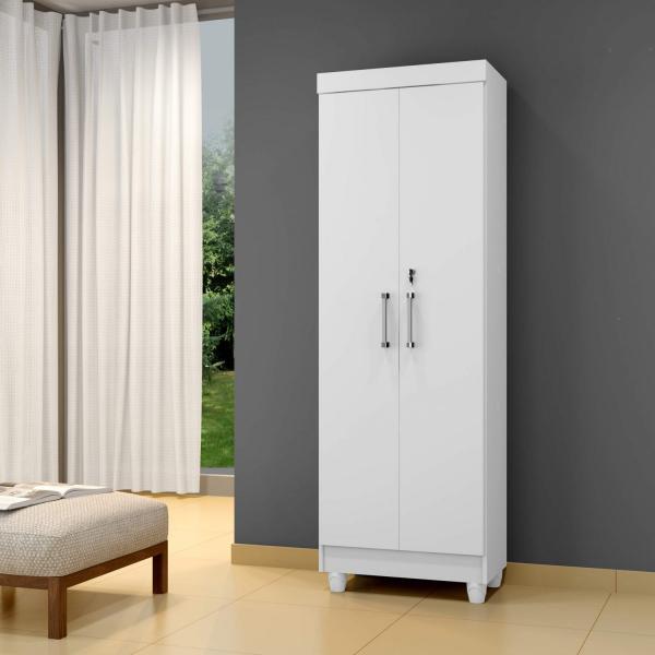 Armário Multiuso 2 Portas 7 Prateleiras Arte Móveis Branco