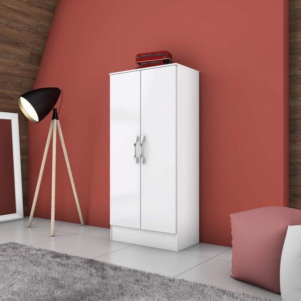 Armário Multiuso 2 Portas 3 Prateleiras BHappy Siena Móveis Branco