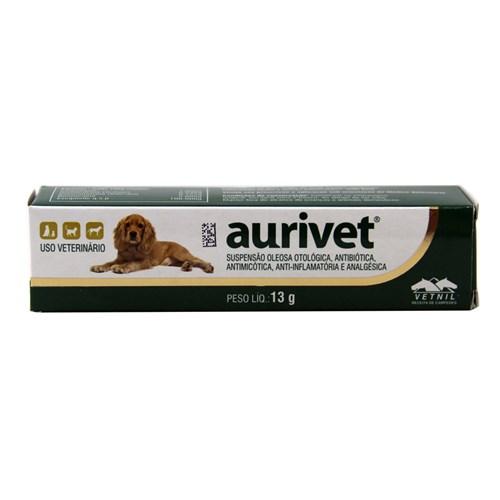 Aurivet 13g Vetnil Tratamento Otites Cães e Gatos