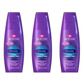 Aussie Moist Shampoo 400ml - Kit com 03