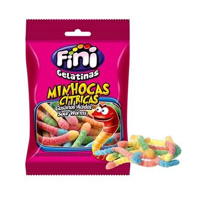 Bala de Gelatina Fini - Minhocas Cítricas - Pacote 250 Gr