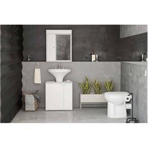 Balcão de Banheiro com 2 Portas Branco Politorno - Branco